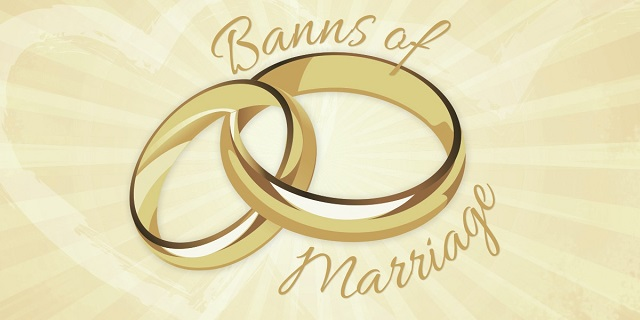 Banns of Marriage – 15th March, 2020